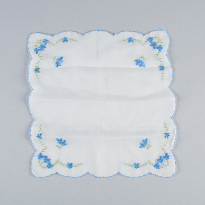 Handkerchief, Forget-me-not Design; Unknown maker; 1940-1950; WY.0000.154