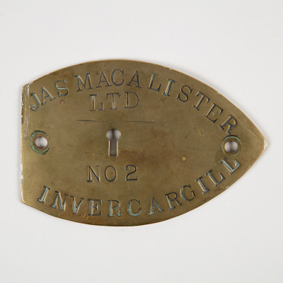 Nameplate, Edendale Post Office Strongroom; Jas MacAlister Ltd; 1911; WY.1988.51.1