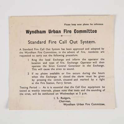 Archives, Wyndham Urban Fire Committee; 1966-1881; WY.1999.11
