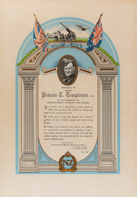 Certificate, Private T. Templeton M.I.D.; Unknown; 1945; WY.0000.856