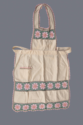 Apron, Inserted Crochet Flowers  ; Unknown maker; 1960-1970; WY.2014.6