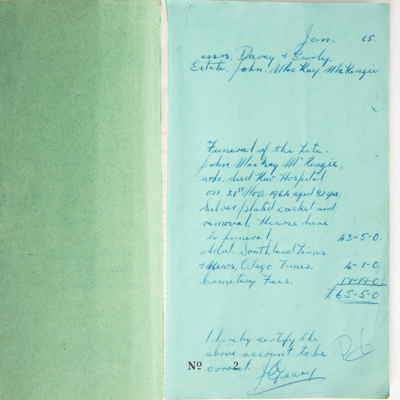 Archives, Burial Account Records Wyndham [IN COPYRIGHT]; 1965-1990; WY.1994.69
