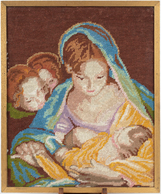 Embroidered Picture, Framed Mary and Child ; Phyll Mitchell; 1970-1980; WY.2015.2.1