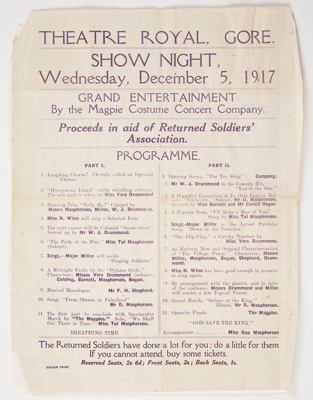 Archives, Magpie Concert Costume Party Programme ; Ensign Print; 05.12.1917; WY.0000.1274