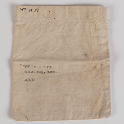Bag, Pte. J. Telfer Personal Effects; Unknown manufacturer; 1914-1918; WY.1996.53.1