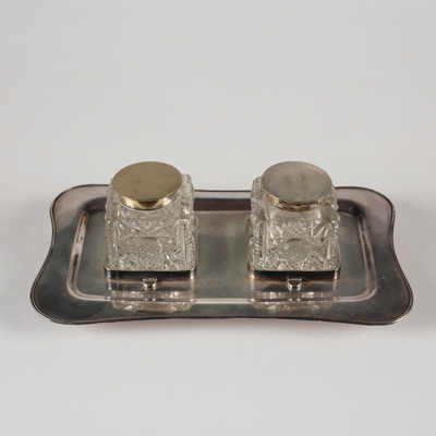 Inkwell, Two Crystal; Unknown manufacturer; Unknown; WY.1989.292