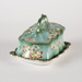 Cheese Dish, Green Floral; Unknown manufacturer; 1900-1910; WY.1990.34