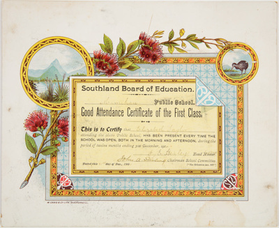 Archives, Attendance Certificates 1903-1915; 1903-1915; WY.1994.57