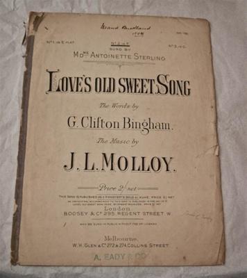 Sheet music, 'Love's old sweet song'; Clifton Bingham (b.1859, d.1913), J. L. Molloy, Boosey & Hawkes (estab. 1760s); XHH.782