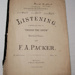 "Sheet music, 'Listening: A companion song to ""Under the Snow""'; F. A. Packer; XHH.771.2"