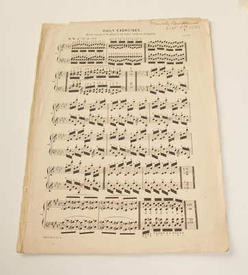Sheet music, 'Daily exercises'; XHH.915