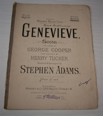 Sheet music, 'Genevieve'; George Cooper, Henry Tucker, Boosey & Hawkes (estab. 1760s); XHH.799