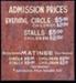 Regent Theatre Matinee Admission Sign; Circa 1980s; 1992/1/17