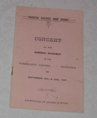 Pahiatua DHS - Concert Programme 1949; 1996-2426-1 Pahiatua DHS - Concert Programme 1949