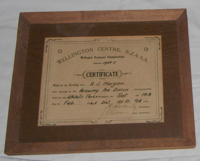 Athletic Certificate (Framed); NZAAA; 1925; 1982-1277-5