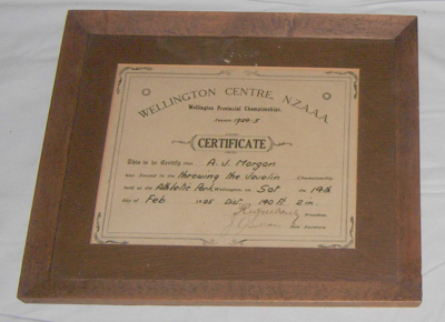 Athletic Certificate (Framed); NZAAA; 1925; 1982-1277-2