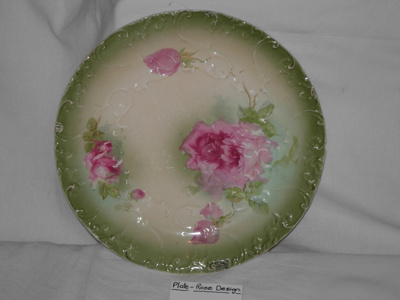Painted plate - green leaves, pink roses; Royal Alexandria; 1977/1986/1