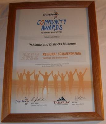Tararua District community Award 2012; 2012; 2016-3458-1