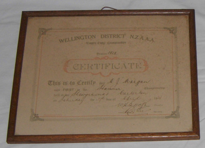 Athletic Certificate (Framed); NZAAA; 1928; 1982-1277-3