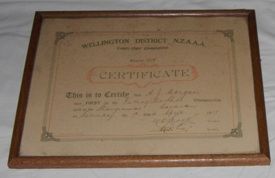 Athletic Certificate (Framed); NZAAA; 1928; 1982-1277-1