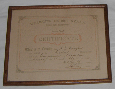 Athletic Certificate (Framed); NZAAA; 1928; 1982-1277-7