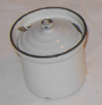 Enamel Mustard Pot & Spoon; 1977-0004-1