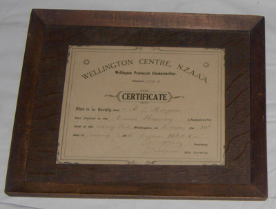 Athletic Certificate (Framed); NZAAA; 1926; 1982-1277-6