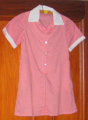 Girls red gingham pinafore - PDHS; 2002-2844-1