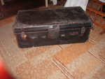 Black leather Cabin trunk; 2015-3440-1