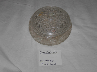 Glass bowl and lid; 1977-0015-1