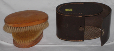 Hair Brushes in Leather Case; 1979-0698-1