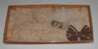 Box of Assorted Lace, Ribbon, Buckle; 1979-0914-1