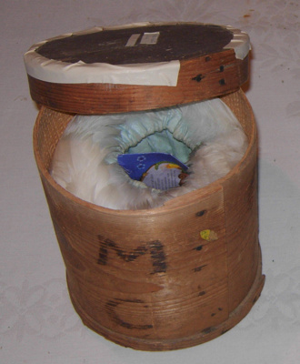 Feather Muff in Wooden Case (Cylindrical); 1887; 1978-0509-1