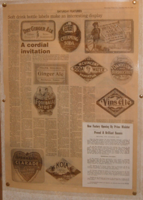 Laminated Newspaper Clipping - Drink Labels; 1998-2543-1