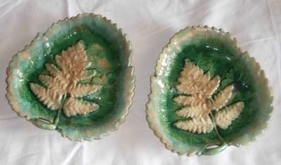 Green Leaf Dishes x2; 1982-1226-1&2