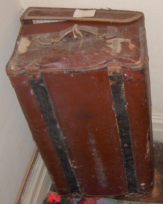 Brown leather Cabin trunk; 1979-0811-1