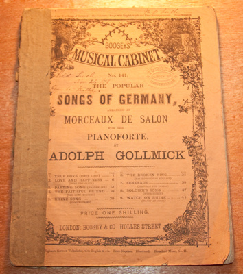 Music Book, 'Boosey's Musical Cabinet No. 141. The Popular Songs of Germany'; Boosey & Hawkes (estab. 1760s), Adolph Gollmick; XEC.5178