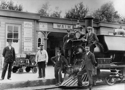 Railway staff in front of old Waimate Railway Stat...