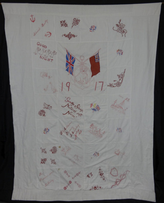 Bedspread made for Red Cross during WWI; Elliott, Lillian (Lily) nee Cuthbertson; 1917; 1993-006-0001