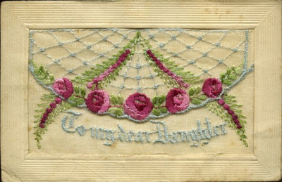 Beautiful hand embroidered postcards were very pop...