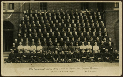Neill, W.D:  Postcard - Army Course of Physical and Bayonet Training, England, 1917.; Gosport, G.J.; 28/09/1917; P135