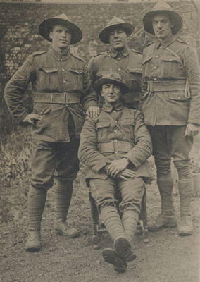 Four WWI soldiers taken in France near Armentires....