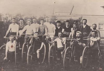 Waimate Cycle Club cyclists 1896 Back: Akhurst, F;...
