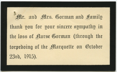Acknowledgement cards; 1915; 1990-034-00909