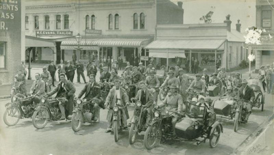 The Waimate Motor Cycle gather at the corner of Qu...