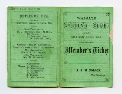 Waimate Cycling Club Member's Ticket 1890-91