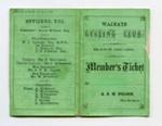 Waimate Cycling Club Member's Ticket 1890-91