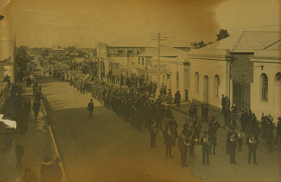 Waimate Peace Day Parade. Procession assembling. L...