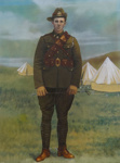 Hand painted full length portrait of James Henry Boyce (7/1337) in military uniform.; Unknown; 1915-1919; 2001-121-022