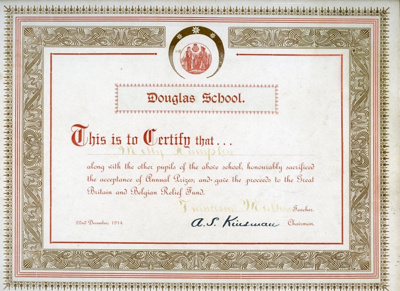 School Certificate of Achievement, 1914; 1914; 2004-052-001